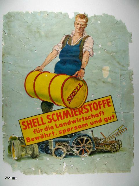 Shell Plakat - Zustand vor der Restaurierung